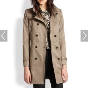 The Kooples Leather Trim Trench Coat